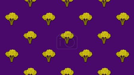 Photo pour Fond de bande dessinée coloré abstrait avec beaucoup de petites images animées de brocoli. Belle animation de dessin animé sur fond coloré . - image libre de droit