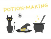 Festive composition on the theme of potion-making and magic Set of witches Good for use on a Halloween or a children's holiday