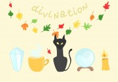 Festive composition on the theme of divination and magic Set of witches Good for use on a Halloween or a children's holiday