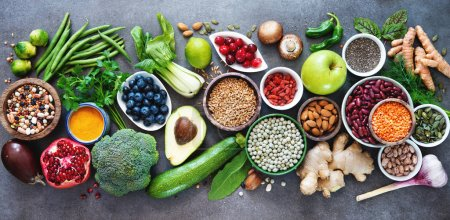 Photo for Healthy food selection with fruits, vegetables, seeds, superfood, cereals on gray background - Royalty Free Image