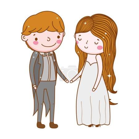 Couple wedding cute cartoon vector ilustration...