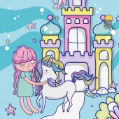 Girl with unicorn at fantasy castle cute cartoons vector illustration graphic design