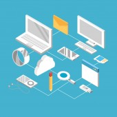 set technogies with data services conecction vector illustration
