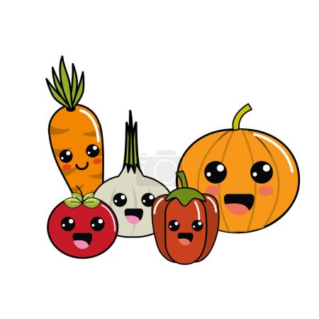 Kawaii happys vegetables icon, vector illustration...