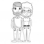 line nice couple with hairstyle and casual clothes vector illustration
