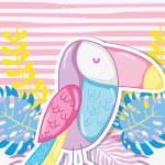 Punchy pastels tucan concept vector illustration g...