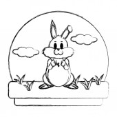 grunge cute rabbit animal standing in the landscape vector illustration