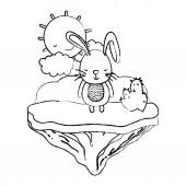grunge male rabbit animal in the float island vector illustration