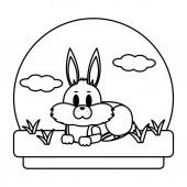 line cute rabbit animal lying in the landscape vector illustration