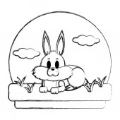 grunge cute rabbit animal lying in the landscape vector illustration