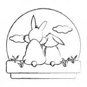grunge cute couple rabbit animal in the landscape vector illustration