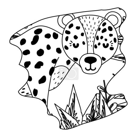Line adorable leopard wild animal in the forest ve...