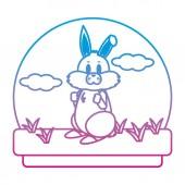 degraded line cute rabbit wild animal in the landscape vector illustration