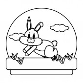 line cute rabbit animal running in the landscape vector illustration
