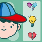 Psychology for boy cartoons vector illustration graphic design