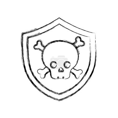 Figure security shield with dangerous skull bones ...