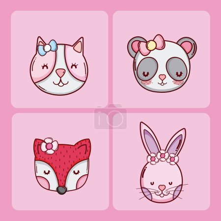 Set of cute animals cartoons collection vector ill...