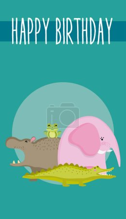 Cute animals happy birthday card cute cartoon vect...
