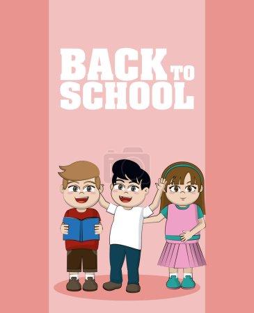 Illustration pour Mignon heureux enfants élèves dessins animés retour à l'école vectoriel illustration conception graphique - image libre de droit