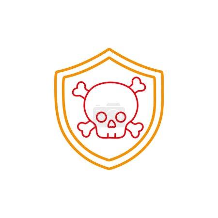 Line security shield with dangerous skull bones in...