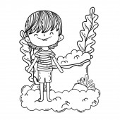 cute little boy in the clouds character