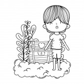 cute little boy with treasure chest in clouds