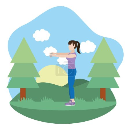 Fit woman doing exercise in the park cartoon vecto...