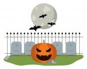 Halloween pumpkin on cemetery