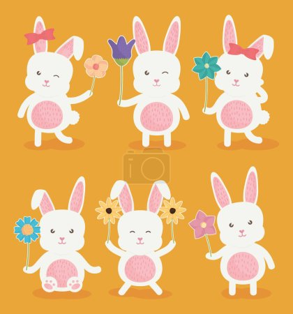 Cute rabbits characters icon vector illustration d...