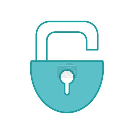 Photo for Duo color open padlock security and protection object vector illustration - Royalty Free Image