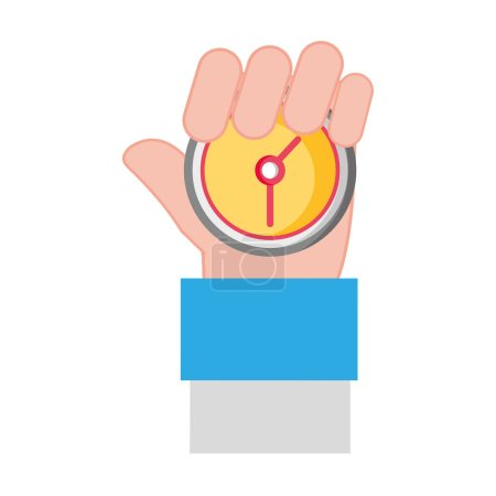 Photo for Man hand with chronometer time object vector illustration - Royalty Free Image