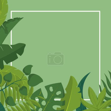 Photo for Topical leaves frame of nature plant and botany theme Vector illustration - Royalty Free Image