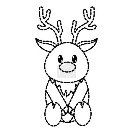 Dotted shape reindeer cute wild animal character v...