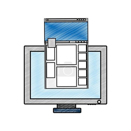 Photo for Computer of device gadget and technology theme Isolated design Vector illustration - Royalty Free Image