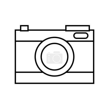 Photo for Line digital camera technology to focus equipment vector illustration - Royalty Free Image
