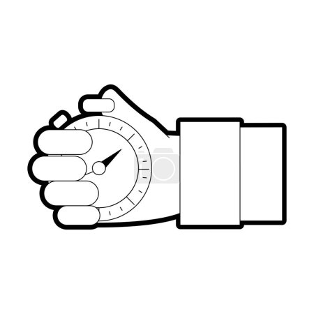 Photo for Line hand man with chronometer time object vector illustration - Royalty Free Image