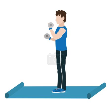 Fit man doing exercise over mat cartoon vector ill...