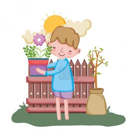 Illustration pour Garçon levage plante d'intérieur avec clôture dans le jardin vectoriel illustration conception - image libre de droit