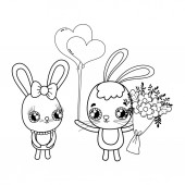 """Постер, картина, фотообои """"милые кролики пара с цветами Валентина день"""""""