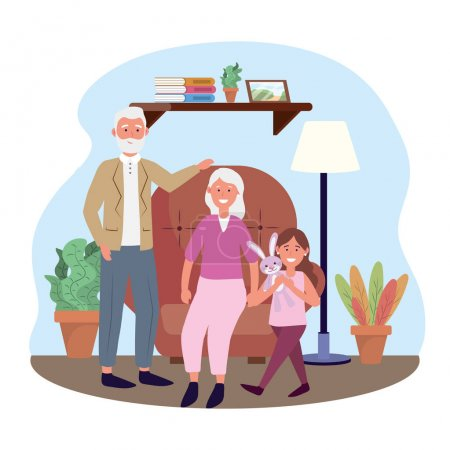 Old woman and man with girl and plants vector illu...