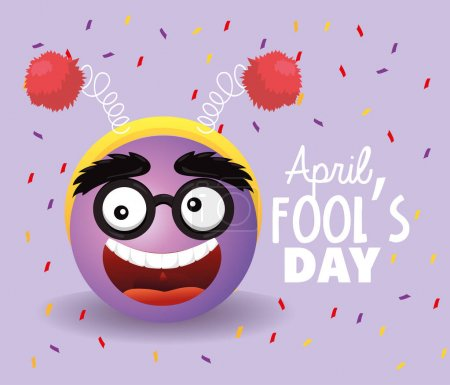 Illustration for Funny face with glasses to fools day vector illustration - Royalty Free Image