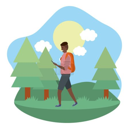 Photo for Millennial student afro man wearing shorts outdoors texting using smartphone grass and trees nature background frame vector illustration graphic design - Royalty Free Image