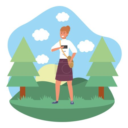Photo for Millennial student redhead woman wearing skirt outdoors texting using smartphone grass and trees nature background frame vector illustration graphic design - Royalty Free Image