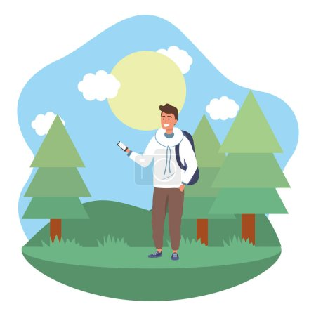 Photo for Millennial student wearing hoodie and background outdoors texting using smartphone grass and trees nature background frame vector illustration graphic design - Royalty Free Image