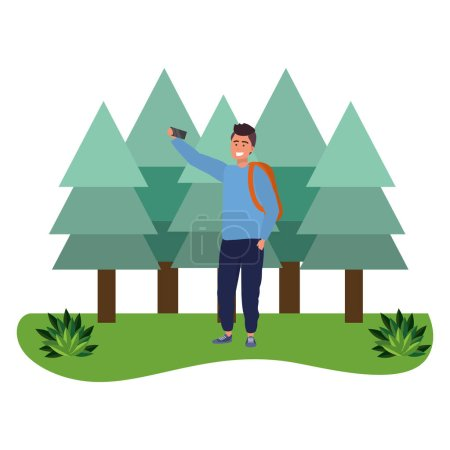 Photo for Millennial student man wearing sweater and backpack outdoors taking selfie using smartphone grass and trees nature background vector illustration graphic design - Royalty Free Image
