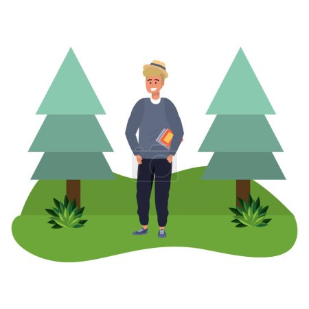 Photo for Millennial student blond man holding book outdoors smiling grass and trees nature background vector illustration graphic design - Royalty Free Image