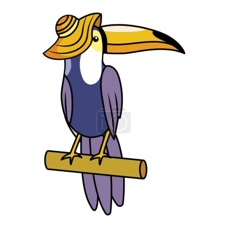 Photo for Cute tucano with hat cartoon vector illustration graphic design - Royalty Free Image