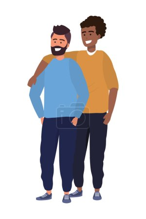 Photo for Millennial couple together hanging out stylish outfit sweater bearded vector illustration graphic design - Royalty Free Image