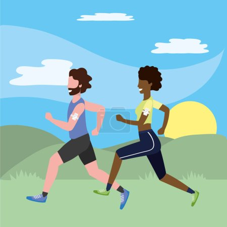 Photo for Fitness exercise couple running workout healthy fit lifestyle outdoor scene cartoon vector illustration graphic design - Royalty Free Image