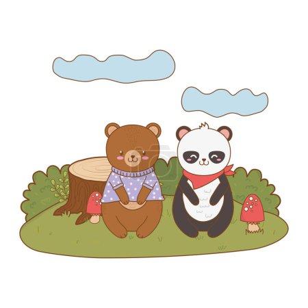 Illustration pour Mignon ours panda dans le domaine forêt personnage vecteur illustration conception - image libre de droit